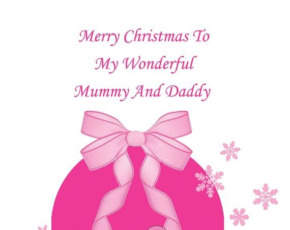 Mummy And Daddy Bump Christmas Card Girl