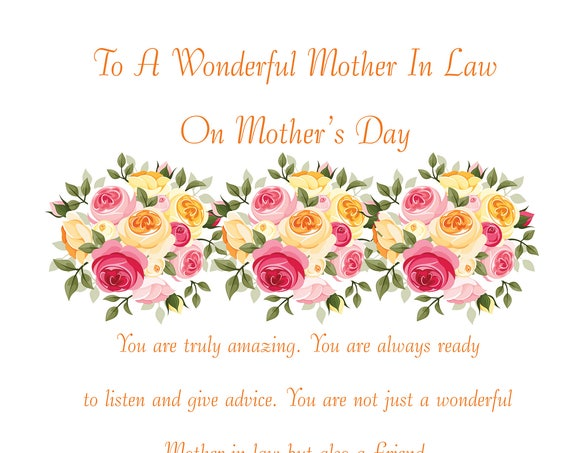 Mother in Law Mothers Day Card 1