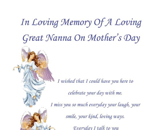 Great Nanna In Memory Mothers Day Card