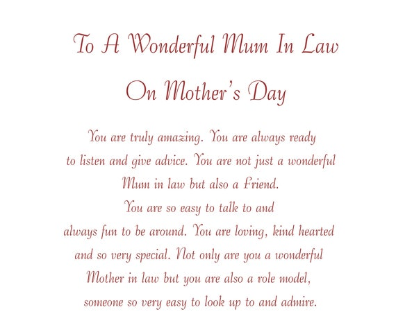 Mum in Law Mothers Day Card 2