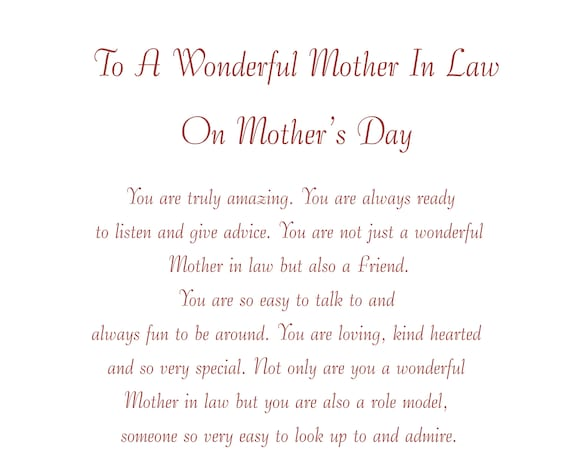 Mother in Law Mothers Day Card 2