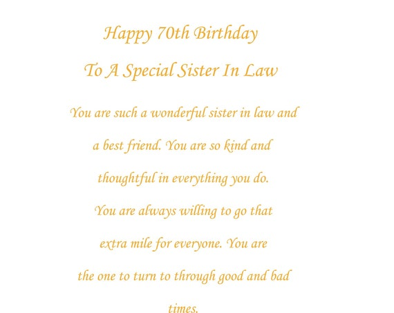 Sister In Law 70th birthday card