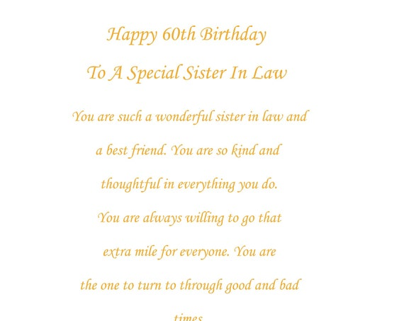 Sister In Law 60th birthday card