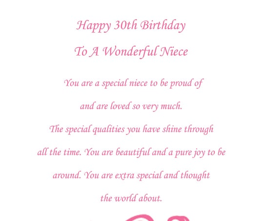 Niece 30th birthday card
