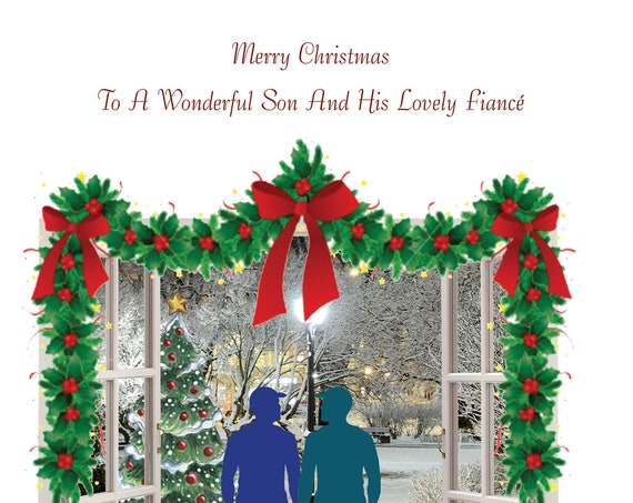 Son and Fiance Christmas Card Male and Male