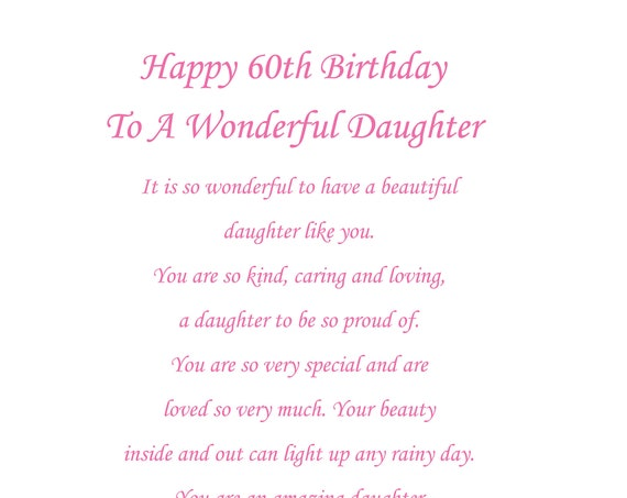Daughter 60th birthday card