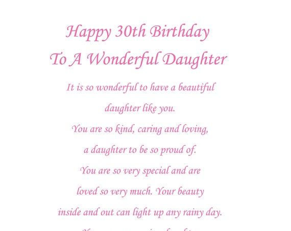 Daughter 30th birthday card