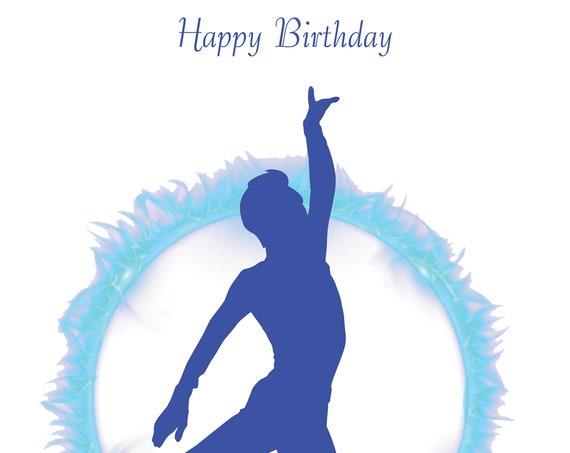 Ice Skating Birthday Card male design 1