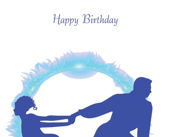 Ice skating couple Birthday Card design 2