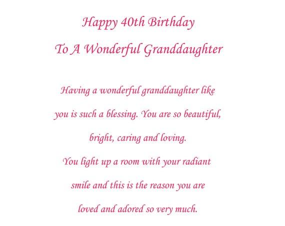 Granddaughter 40th birthday Card