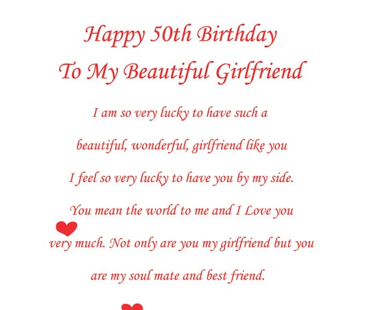 Girlfriend 50th birthday card