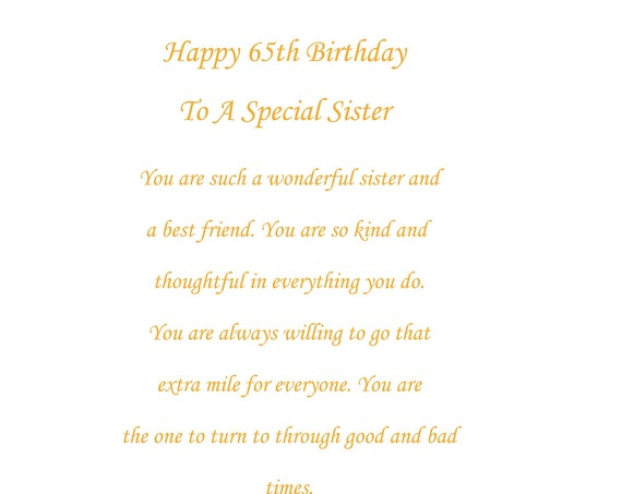 Sister 65th birthday card