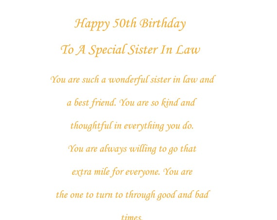 Sister In Law 50th birthday card