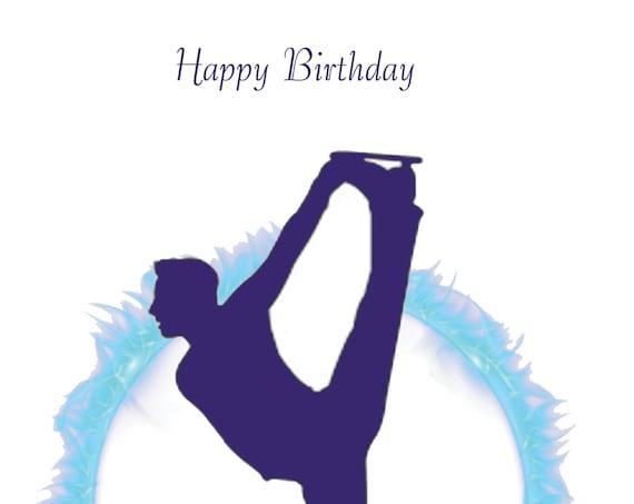 Ice Skating Birthday Card male design 3