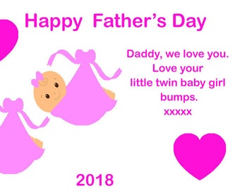 Fathers Day Magnet from Twin Girl Bumps