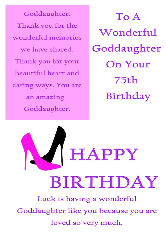 Goddaughter 75 Birthday Card With Removable Laminate