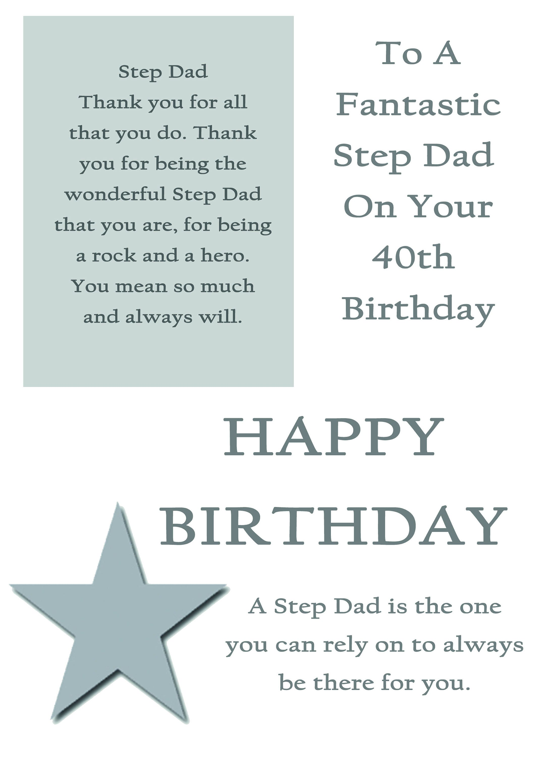 Step Dad 40 Birthday Card With Removable Laminate