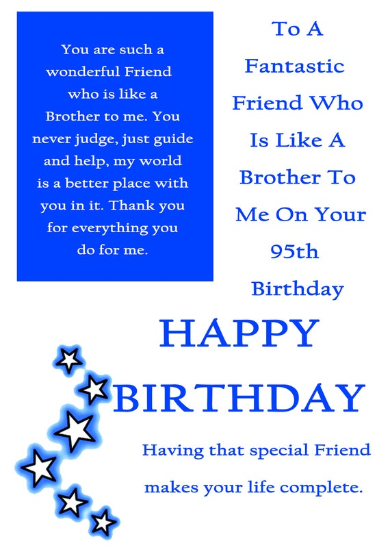 Friend Like A Brother 95 Birthday Card With Removable Laminate