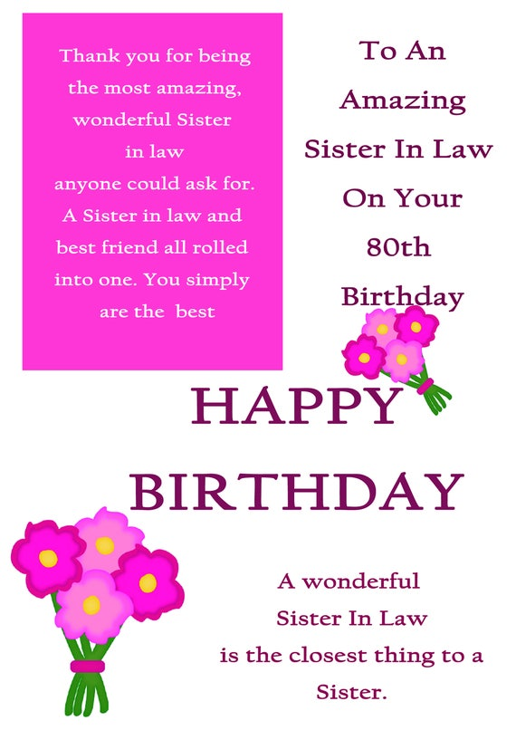 Sister In Law 80 Birthday Cards With Removable Laminate