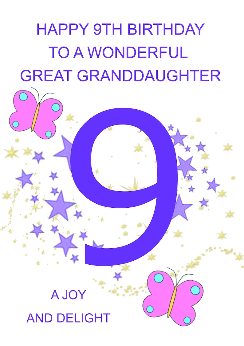 Great Granddaughter 9th Birthday Card
