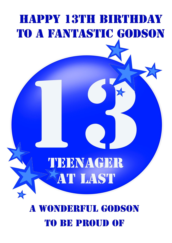 Godson 13 Birthday Card