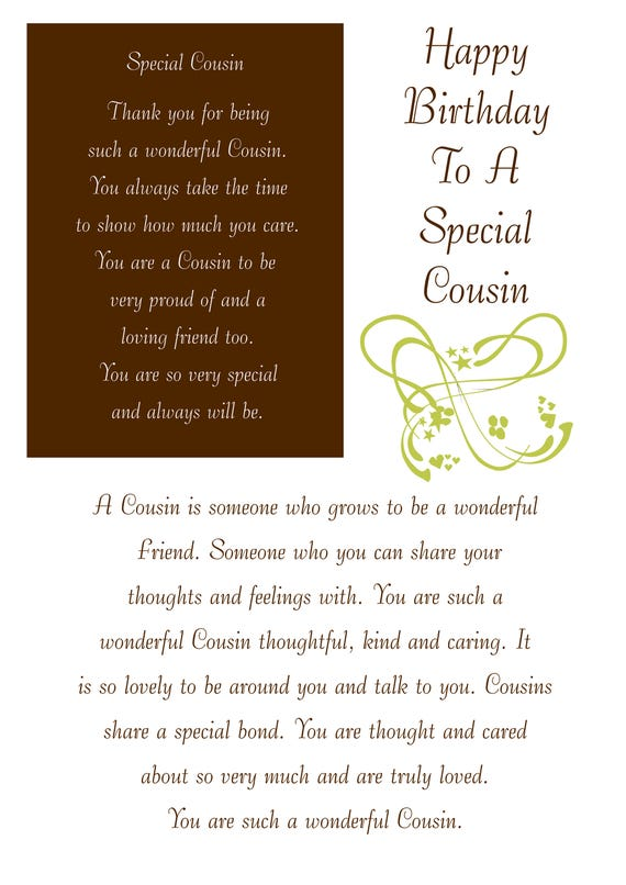 Cousin Birthday Card With Removable Laminate Female
