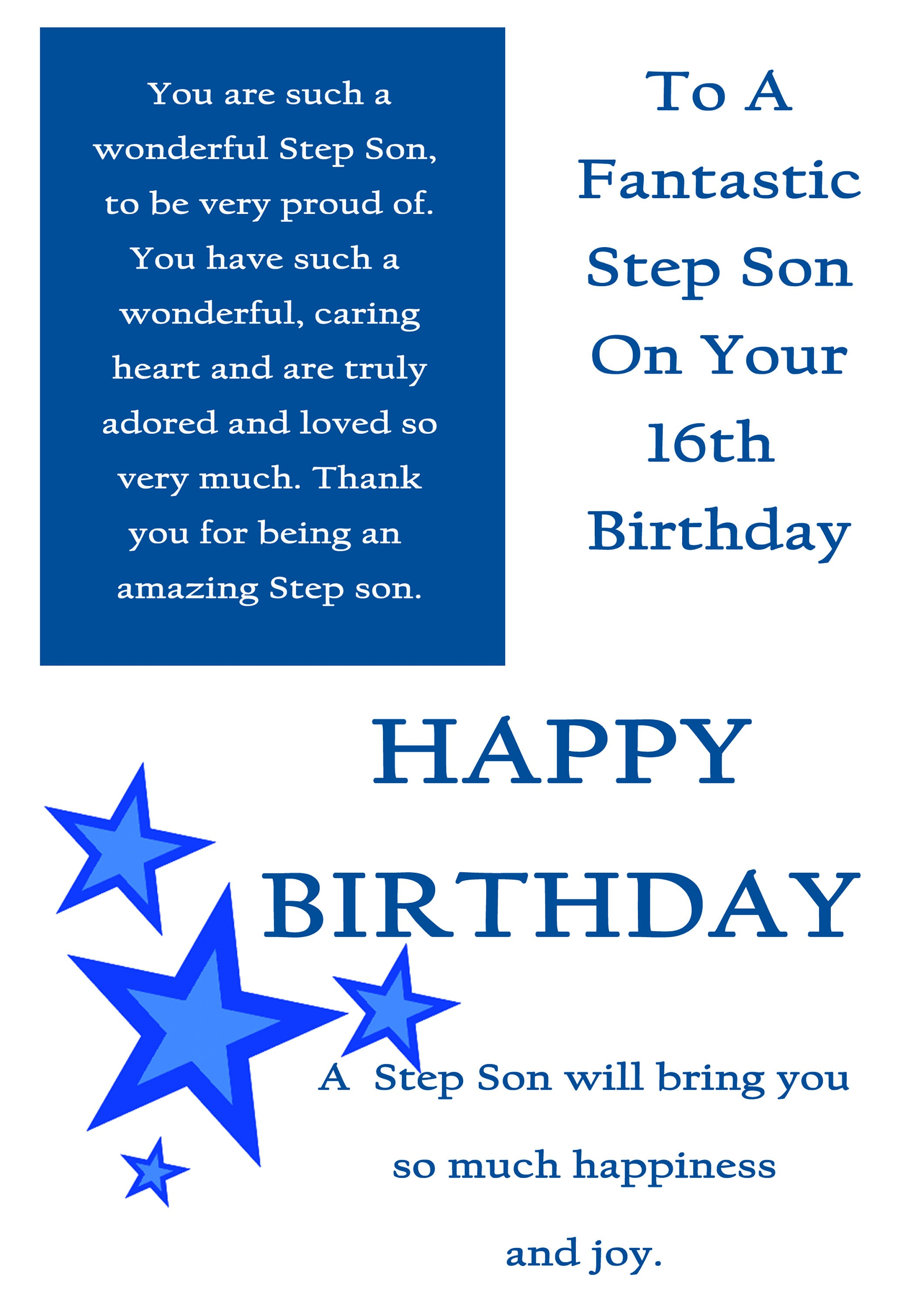 step son 16 birthday card with removable laminate