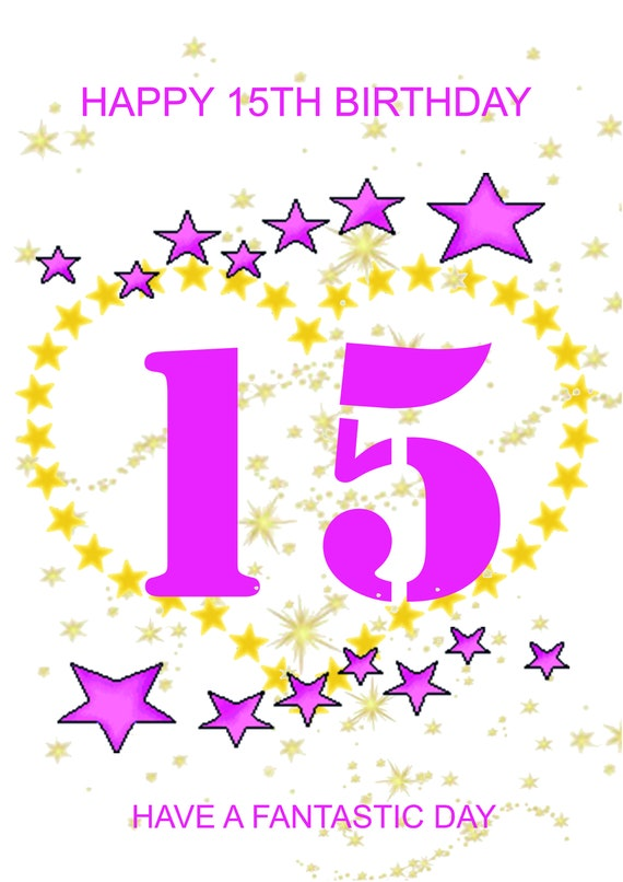 Happy 15th Birthday Card Girl Etsy