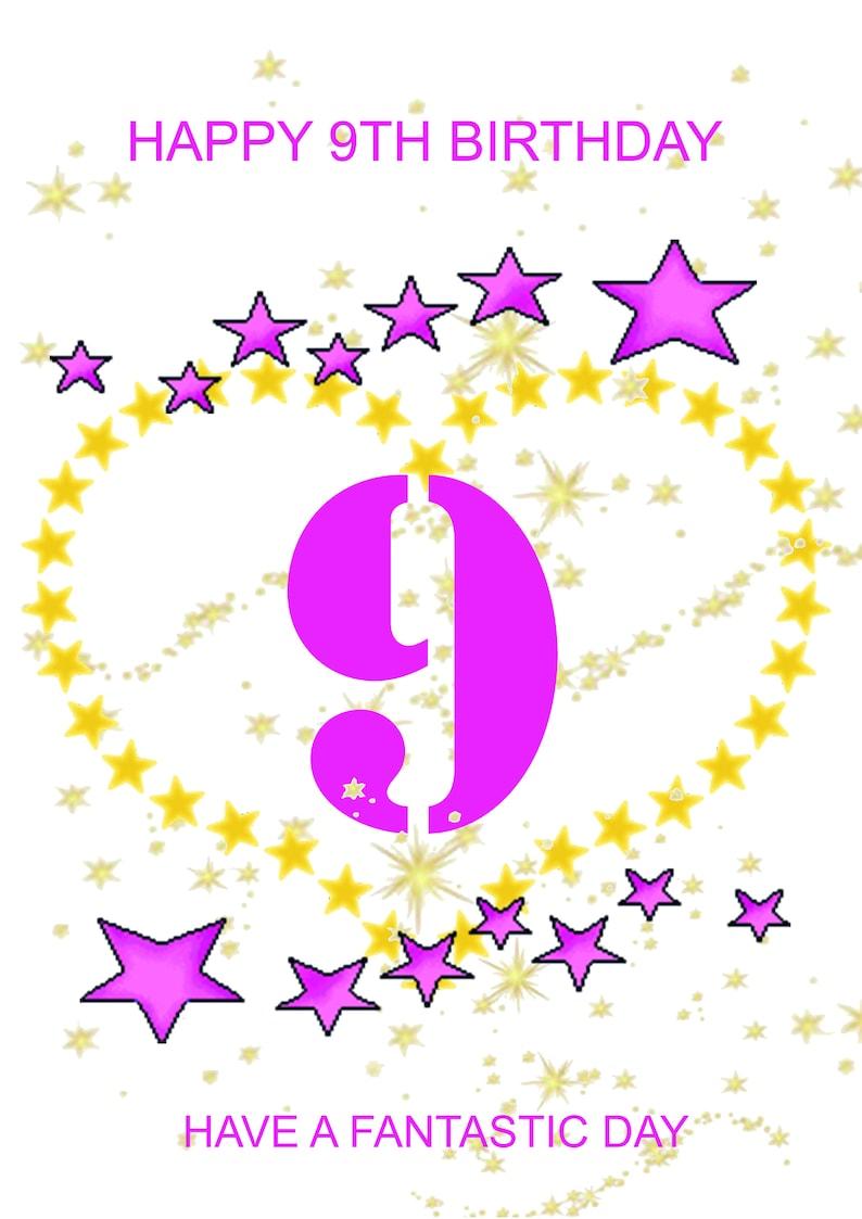 Happy 9th Birthday Card Girl