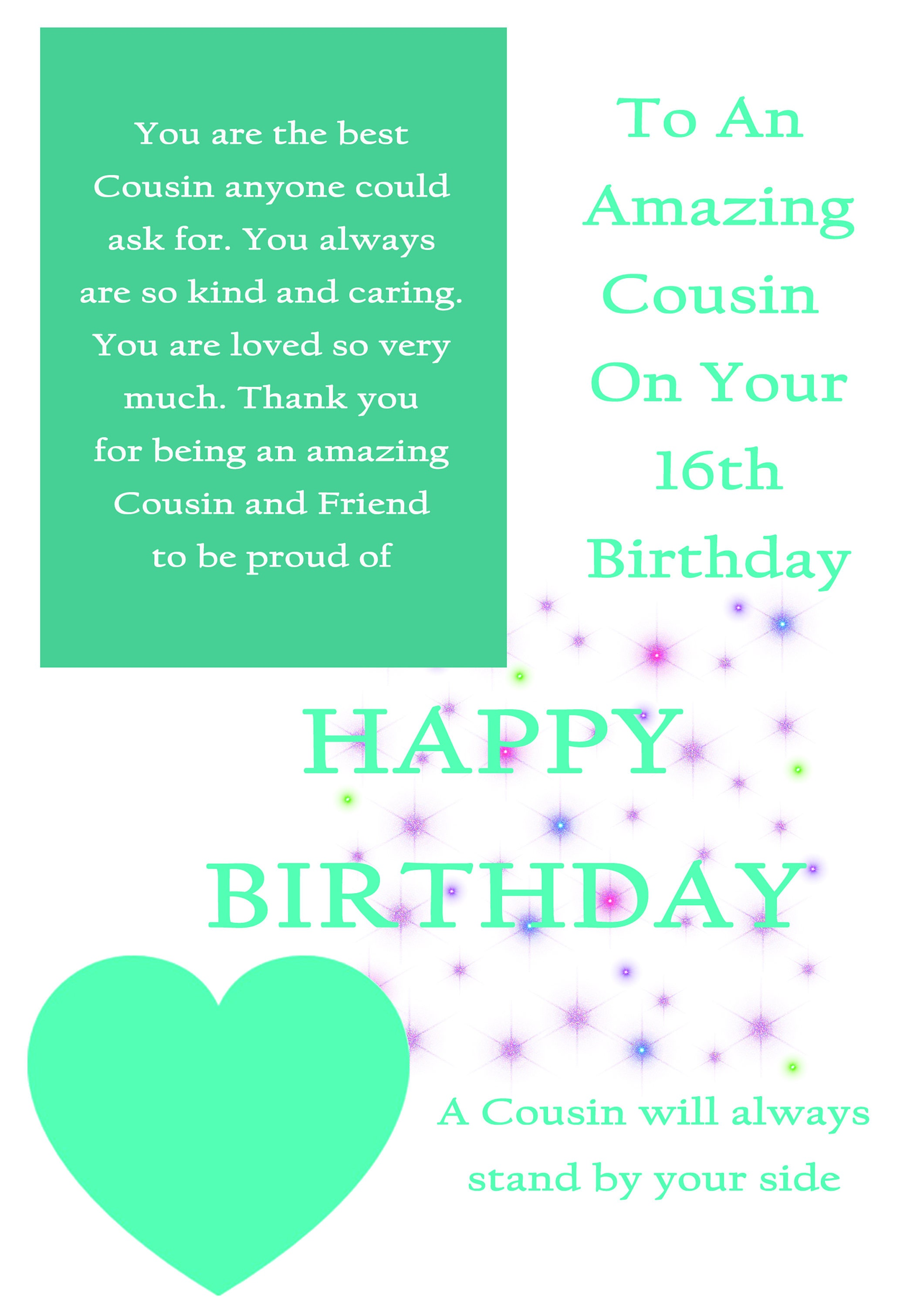 Cousin 16 Birthday Card With Removable Laminate Female