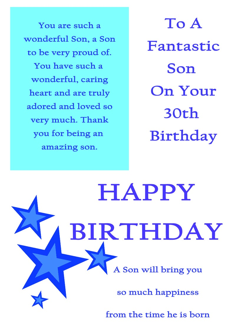 Son 30 Birthday Card With Removable Laminate