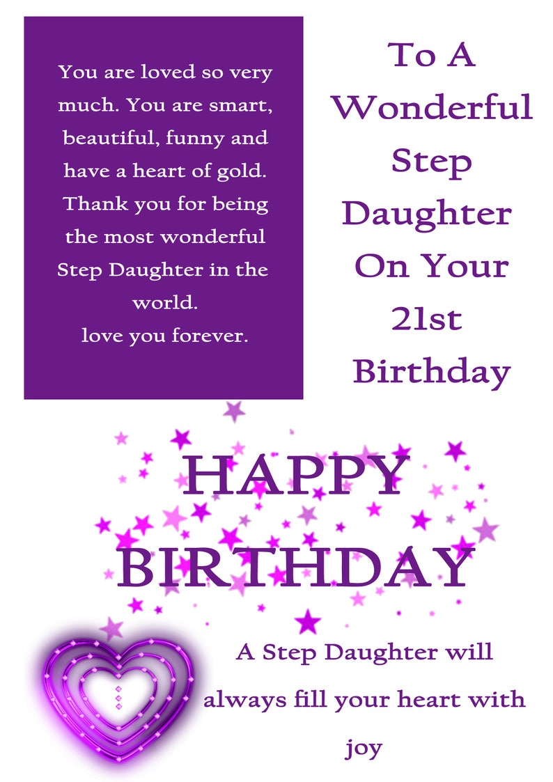 Step Daughter 21 Birthday Card With Removable Laminate