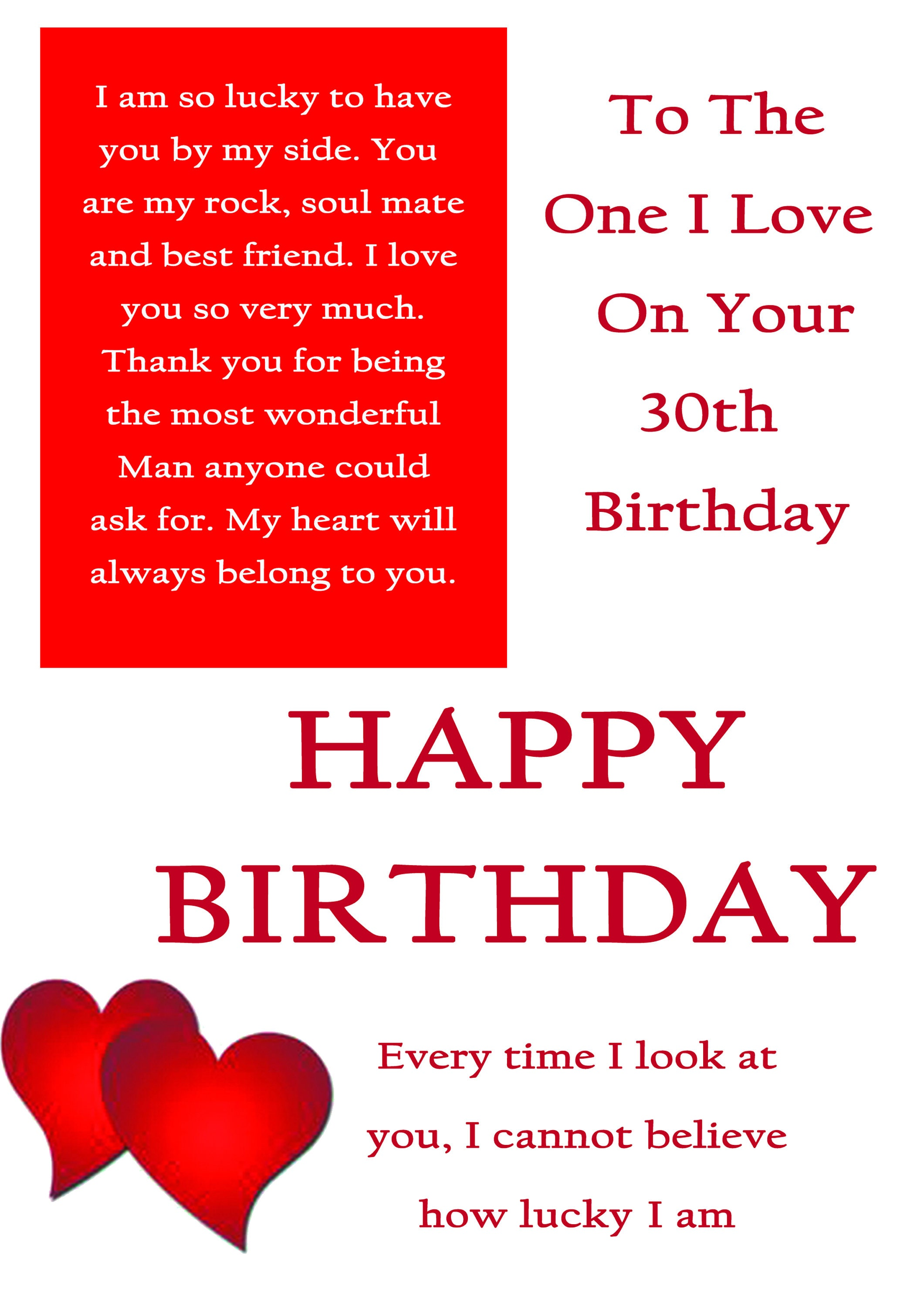 One I Love 30 Birthday Card With Removable Laminate
