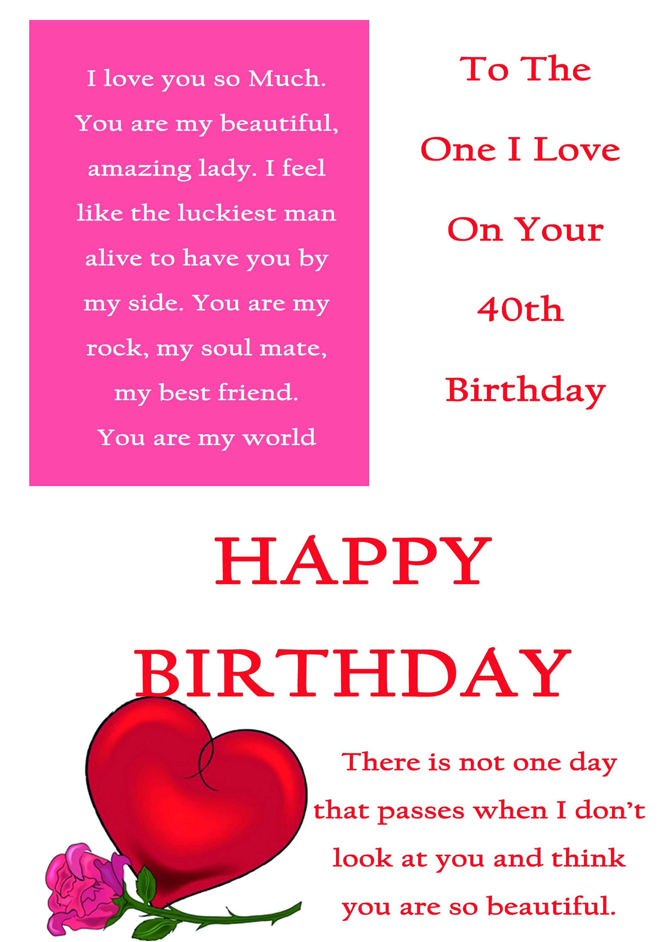 One I Love 40 Birthday Card With Removale Laminate