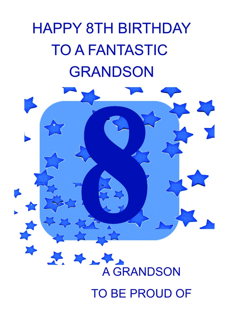 Grandson 8th Birthday Card