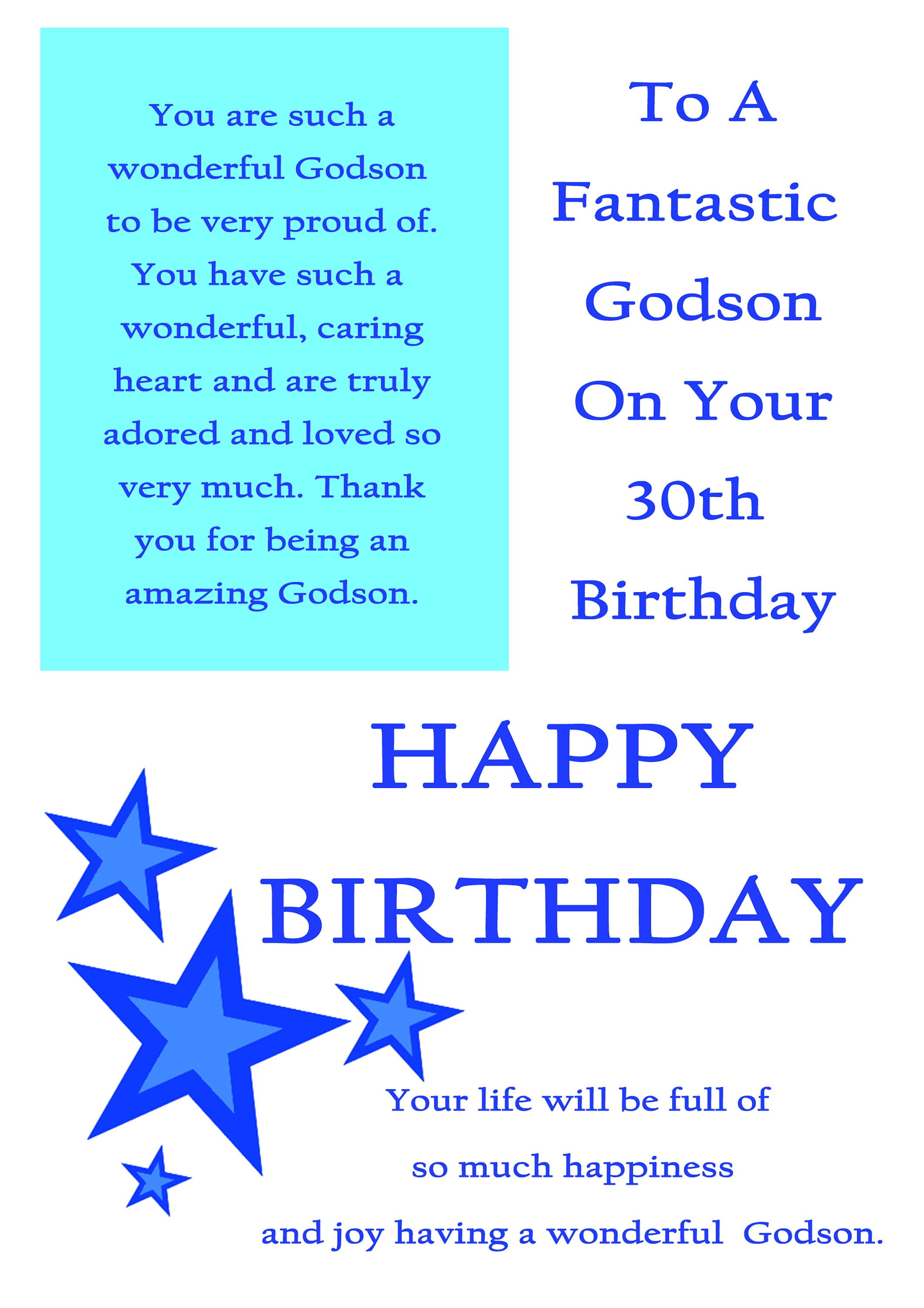 Godson 30 Birthday Card With Removable Laminate