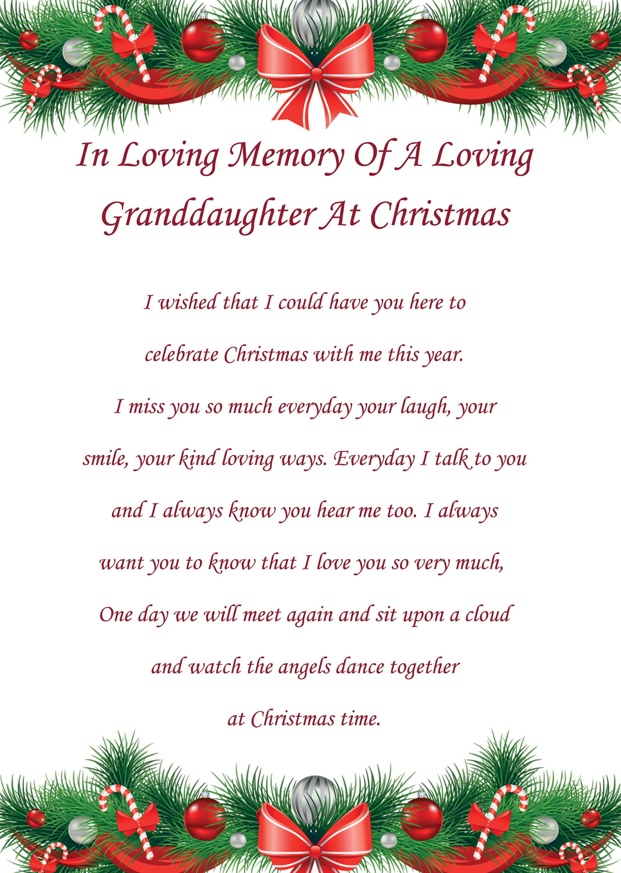 Granddaughter In Memory Christmas Card | Etsy