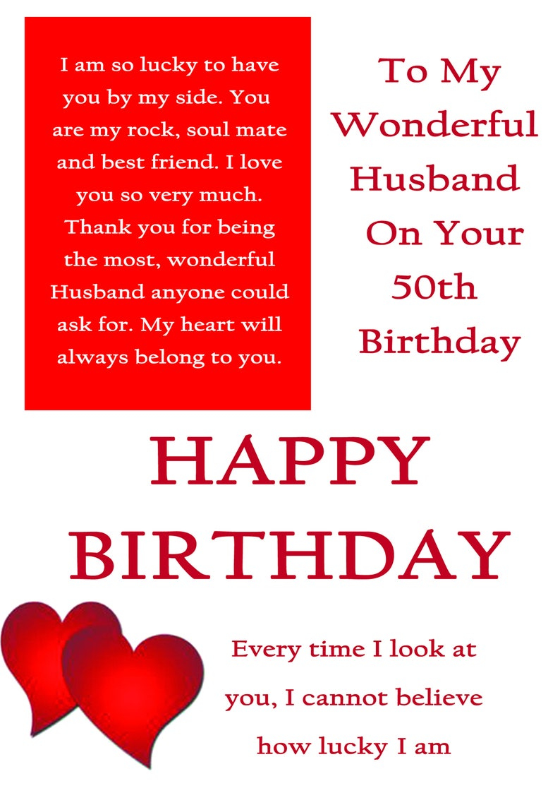 Husband 50 Birthday Card With Removable Laminate