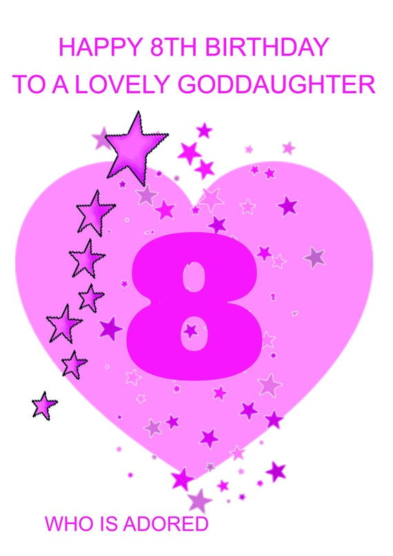 Goddaughter 8th Birthday Card