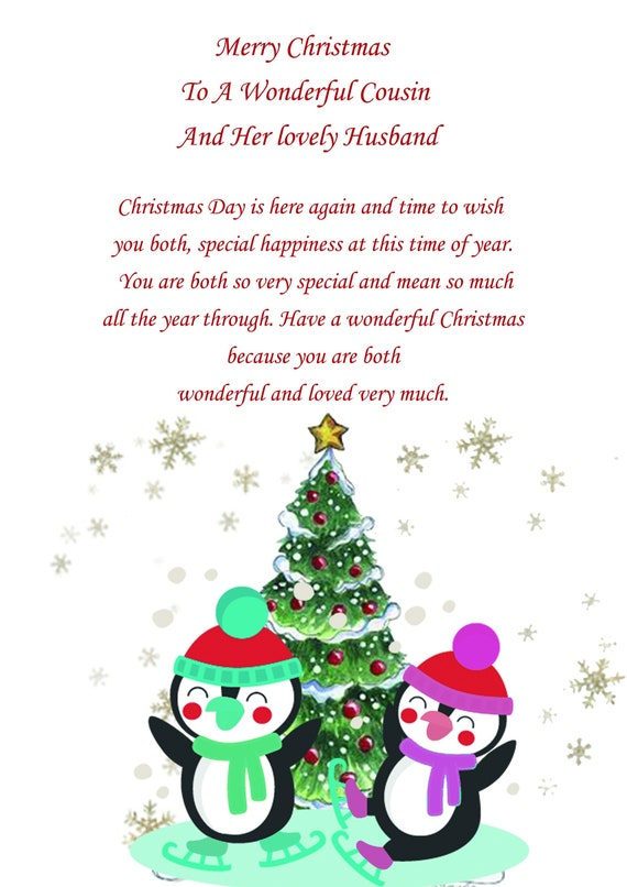 A Husband For Christmas.Cousin And Husband Christmas Card Cute