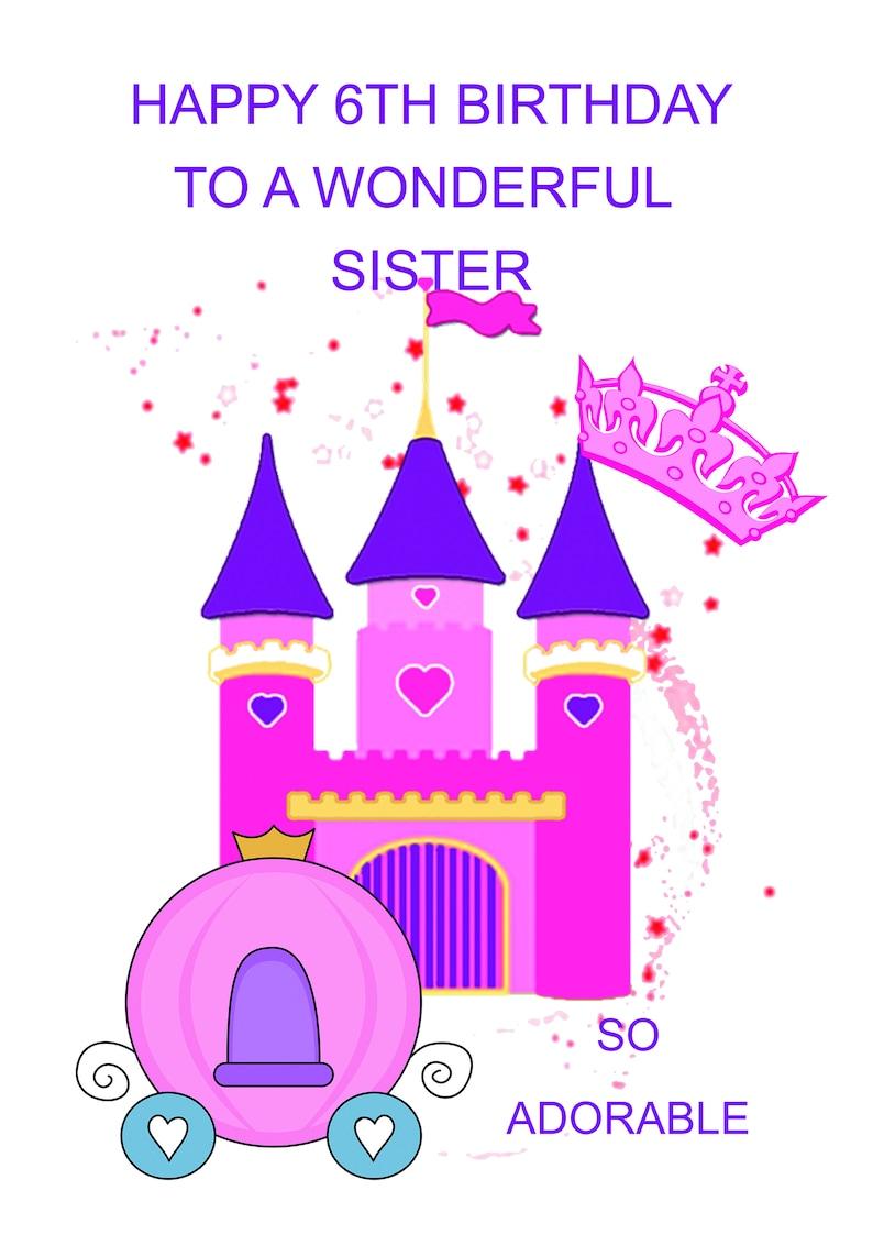 Sister 6th Birthday Card