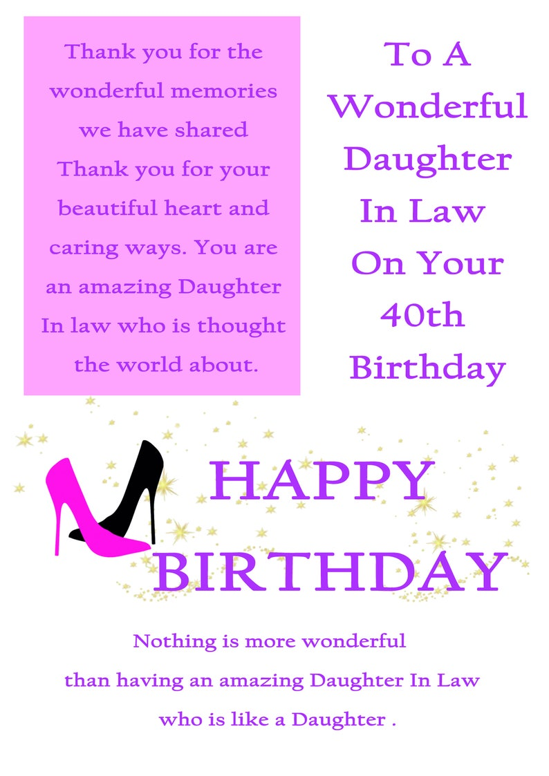 Daughter In Law 40 Birthday Card With Removable Laminate