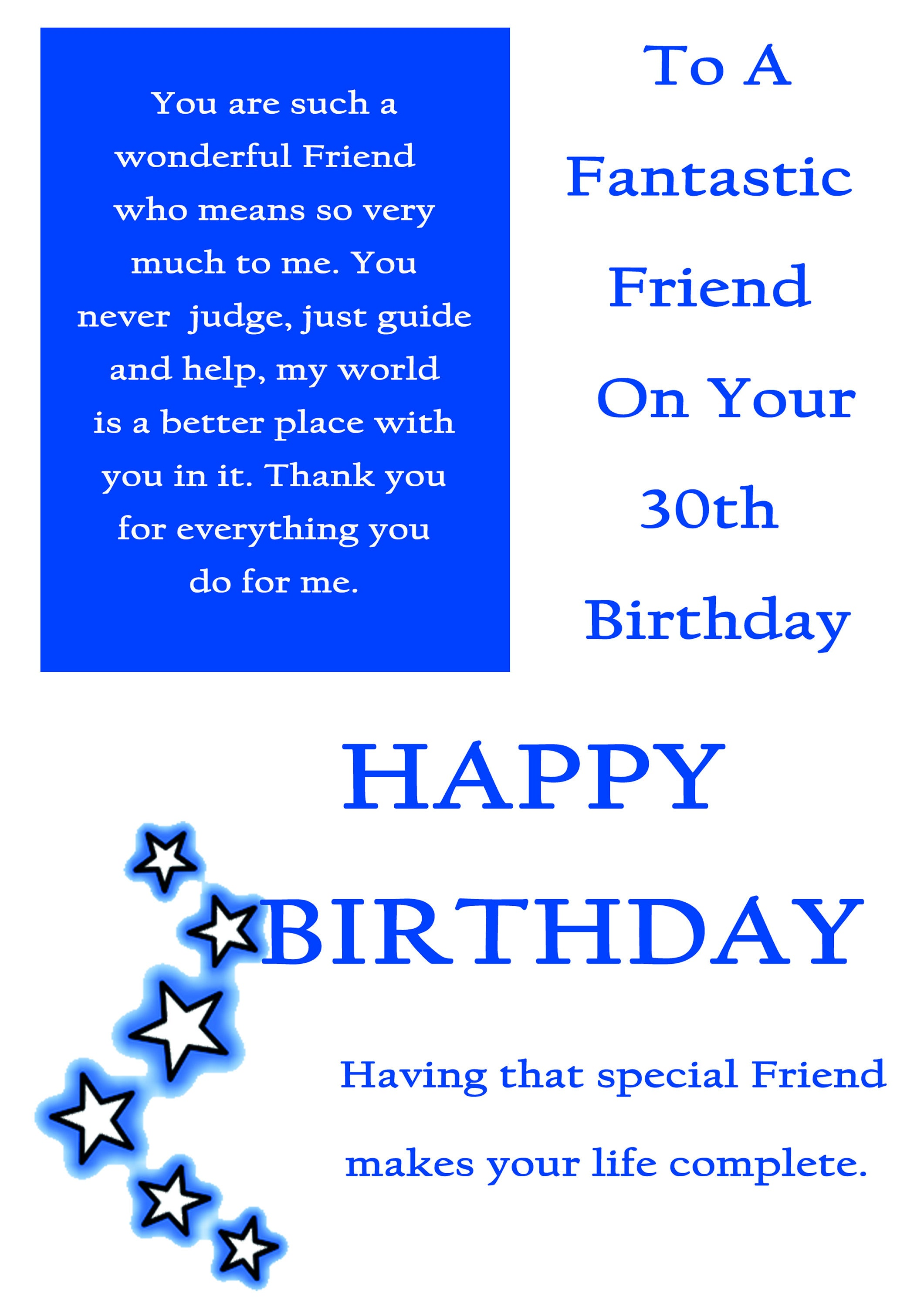 Friend 30 Birthday Card Male With Removable Laminate