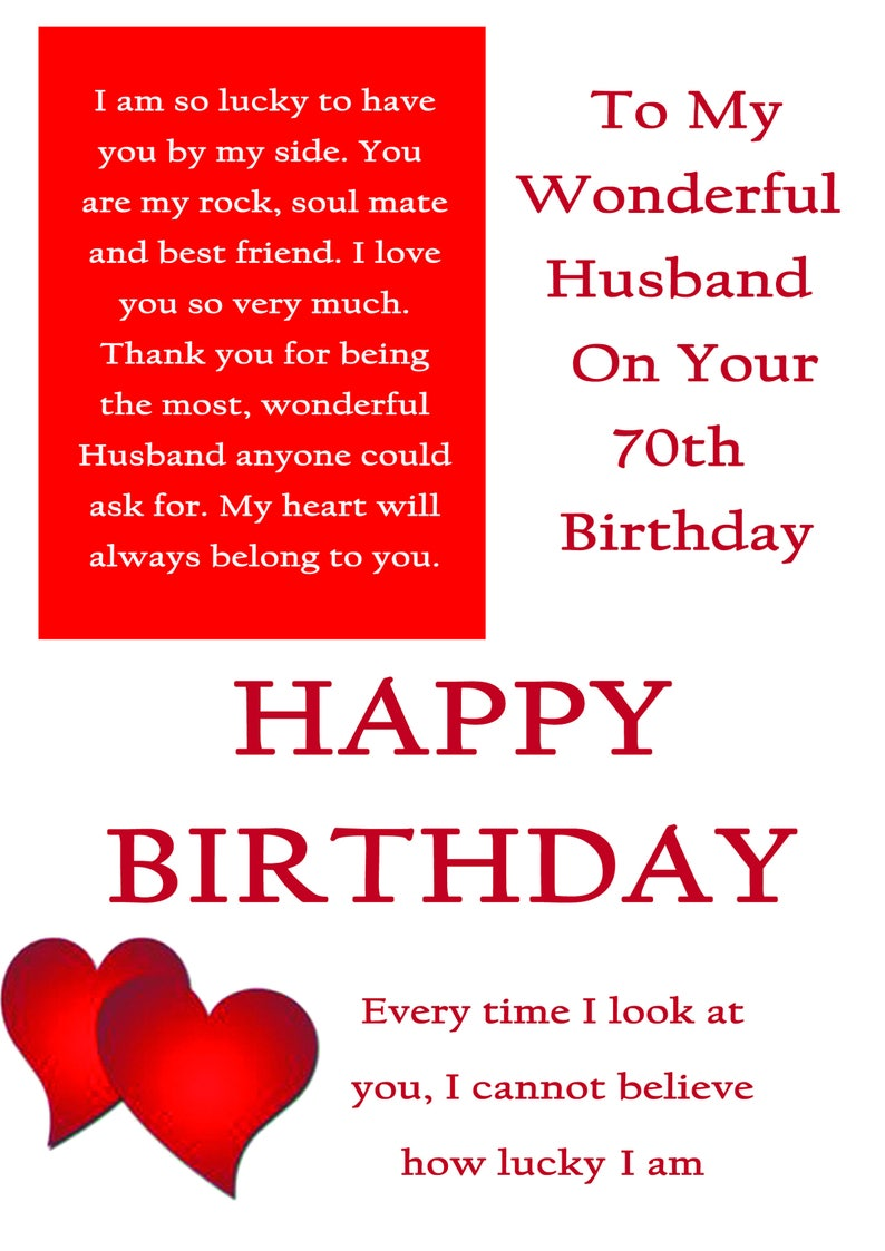 Husband 70 Birthday Card With Removable Laminate