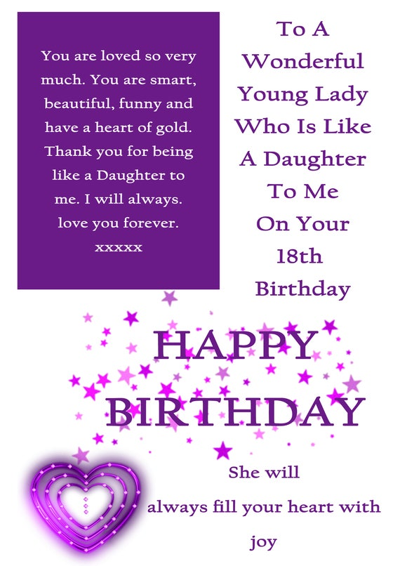 Like A Daughter 18 Birthday Card With Removable Laminate