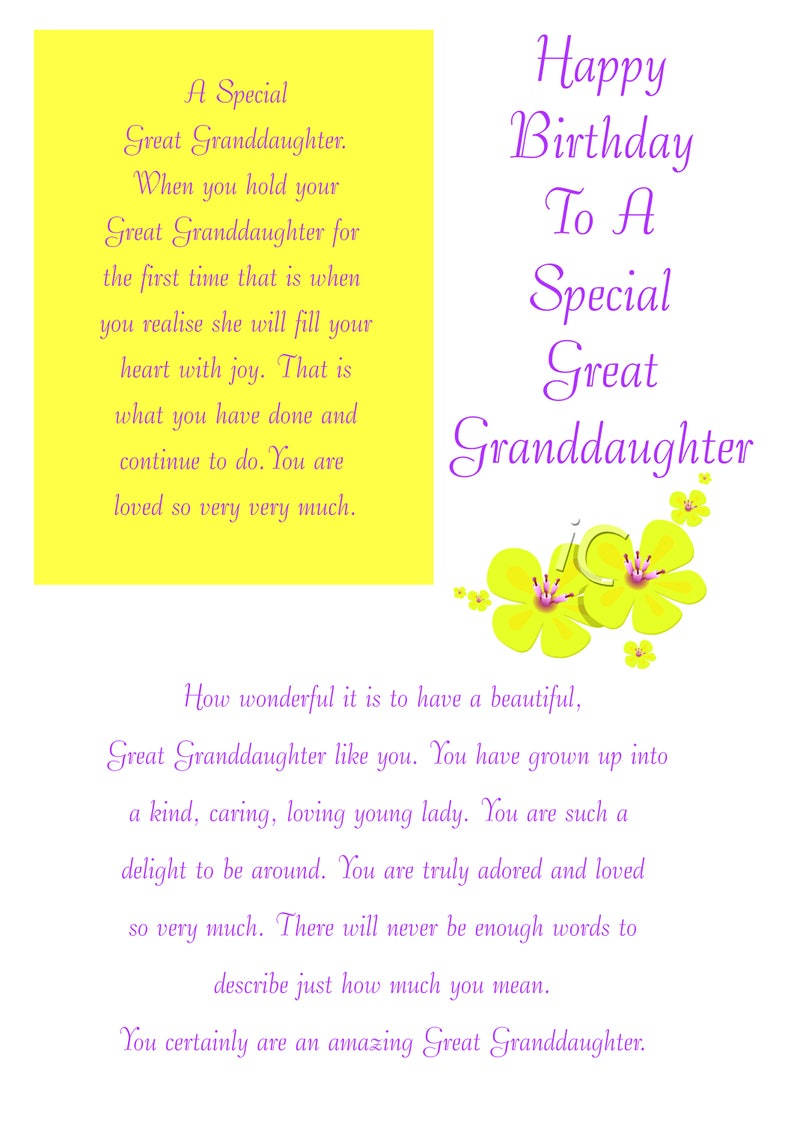 Great Granddaughter Birthday Card With Removable Laminate