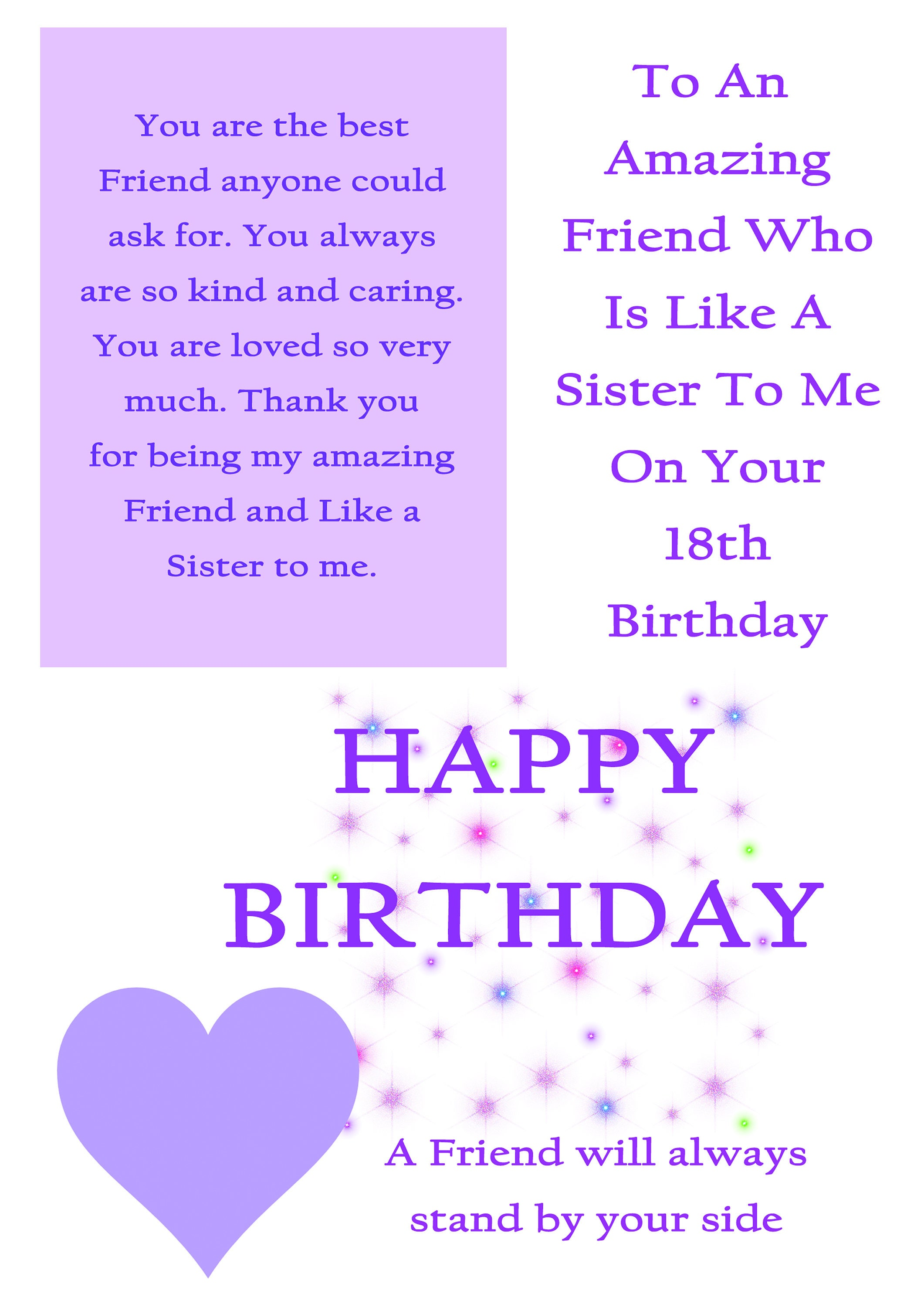 Friend Like A Sister 18 Birthday Card With Removable Laminate