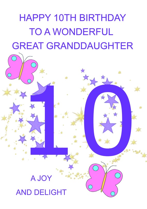 Great Granddaughter 10th Birthday Card