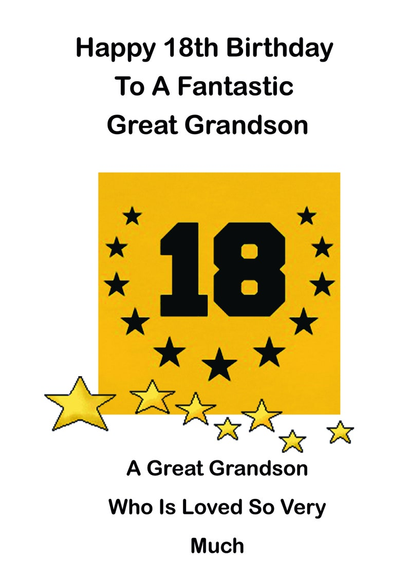 Great Grandson 18th Birthday Card