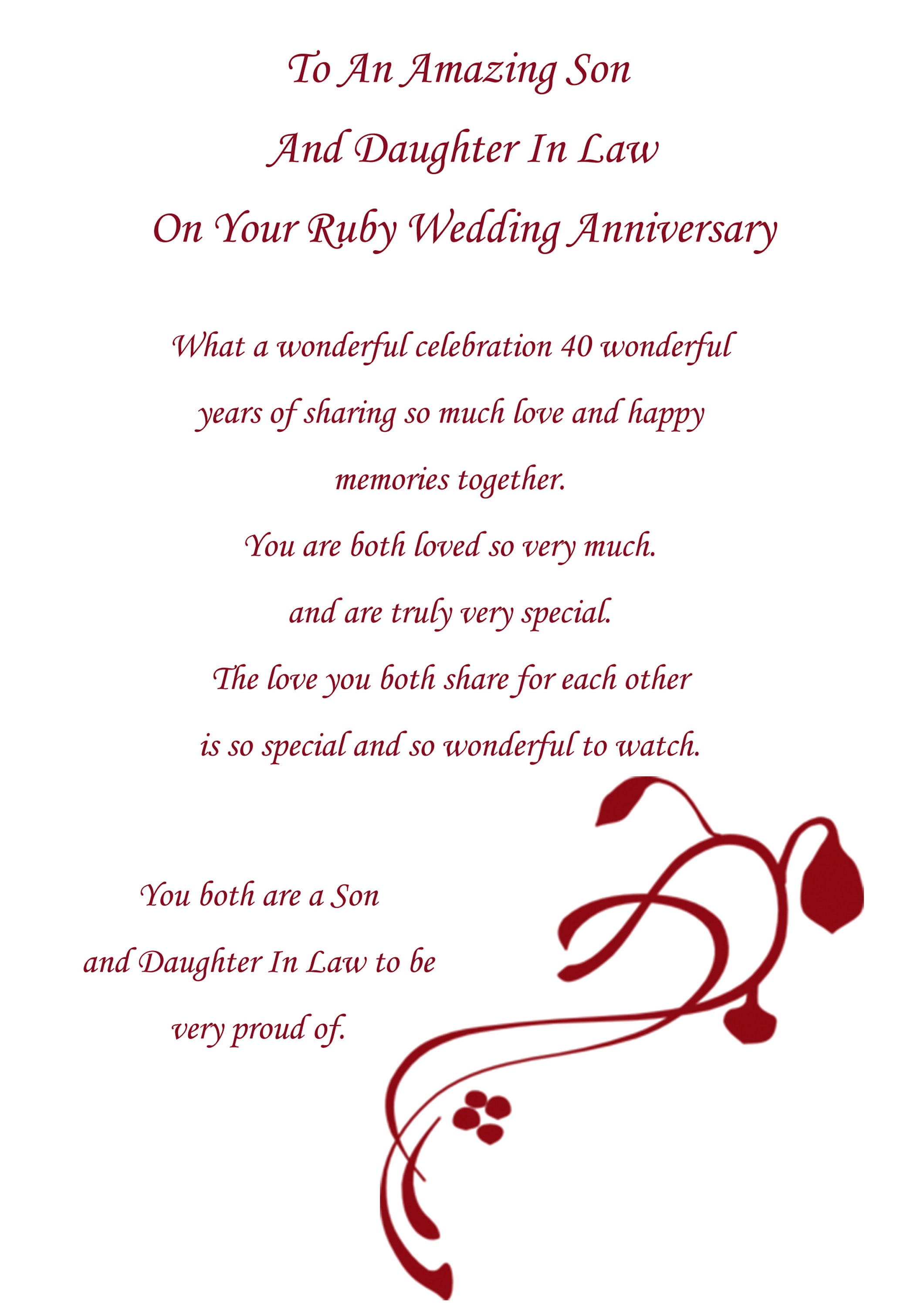 Son Daughter In Law Ruby Anniversary Card Etsy